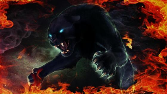 Fiery Black Panther wallpaper