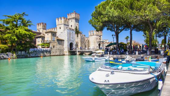 Rocca Scaligera Castle in Sirmione, Italy wallpaper