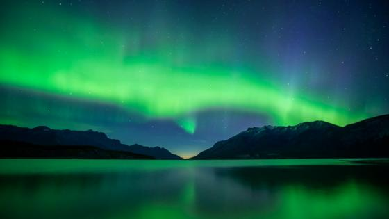 Lakeside Aurora Borealis at night wallpaper