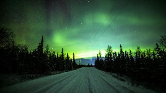 Northern lights over the snowy road wallpaper