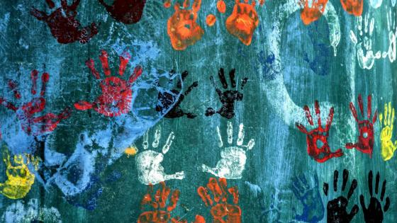 Handprints on the wall wallpaper