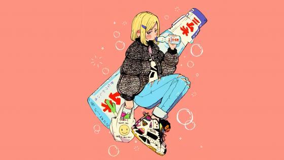Blonde hair anime girl wallpaper