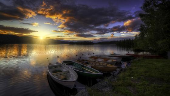 Boats in the sunset wallpaper