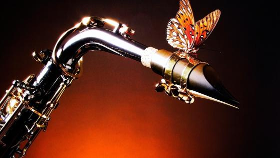 Saxophone with butterfly wallpaper