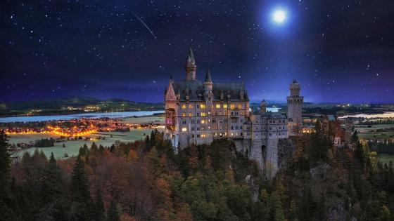 Neuschwanstein Castle in the moonlight wallpaper