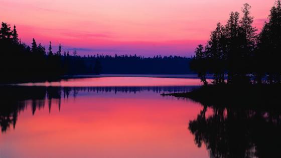 Pink sunset reflection wallpaper