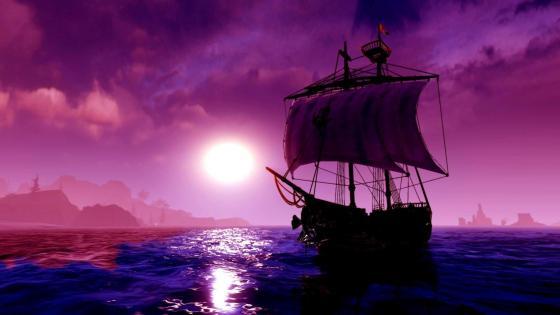 Purple moonlight sailing - Fantasy art wallpaper
