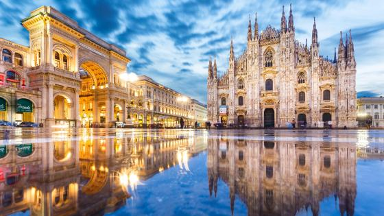 Milan Cathedral afer a rainy day wallpaper