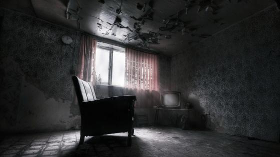 Abandoned dark room wallpaper