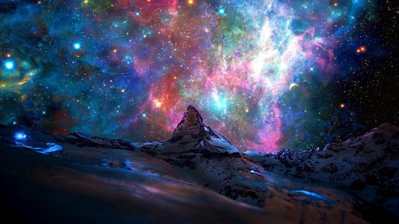 Matterhorn and a galaxy - Fantasy art wallpaper