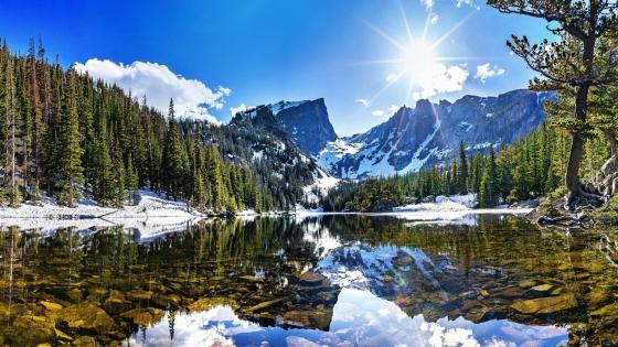 Dream Lake with Hallett Peak wallpaper