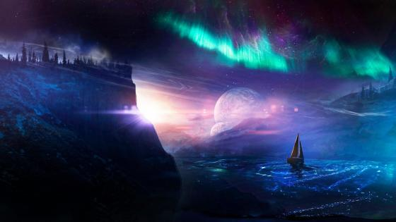Sailboat under the Aurora Borealis - Fantasy art wallpaper
