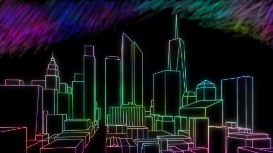 Skyscrapers - Neon digital art wallpaper
