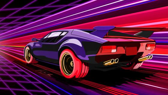 Retrowave car wallpaper