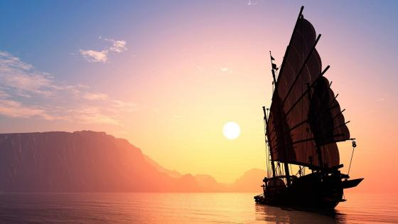 Ship sailing toward the sun wallpaper