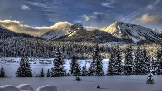 Winter mountains landscape wallpaper