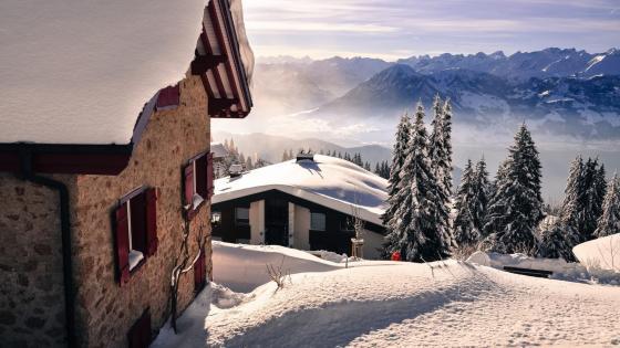 Winter village landscape wallpaper