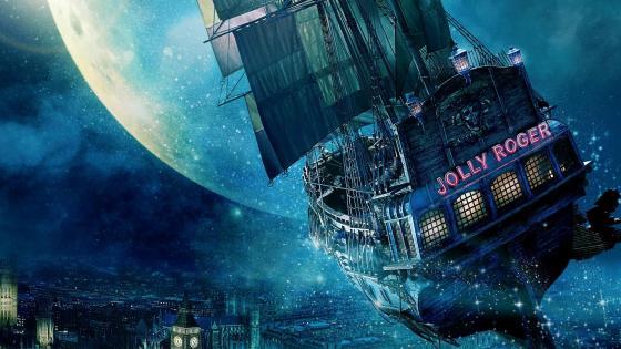 Jolly Roger ship above the city wallpaper