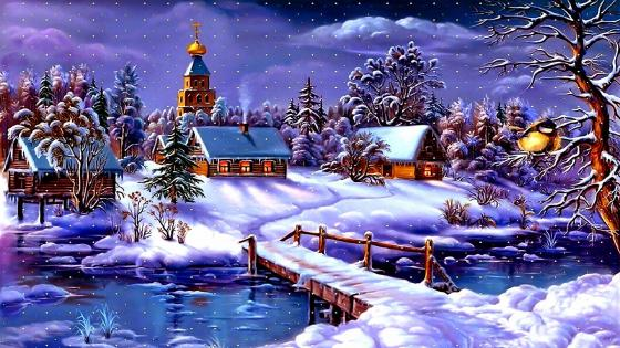 Artistic Winter Painting wallpaper