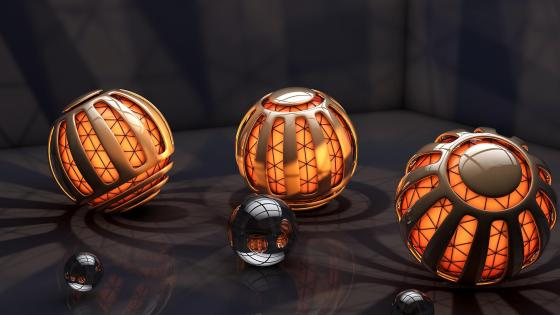 3D Orange balls digital art wallpaper