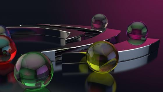 Colorful marbles digital art wallpaper