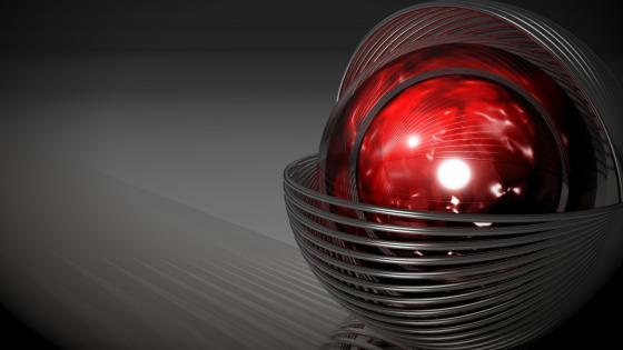 3D red sphere computer graphics wallpaper