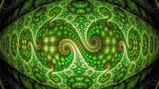 Green fractal art wallpaper
