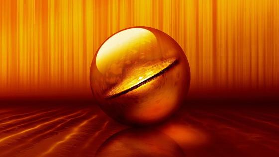 3D orange sphere digital art wallpaper