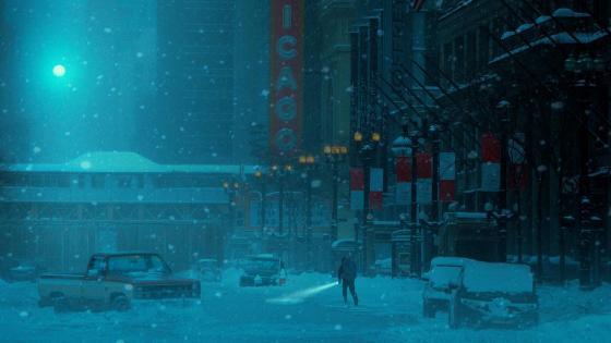 Night snowfall in the city - Digital art wallpaper
