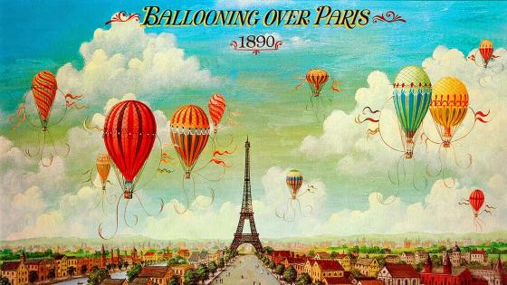 Ballooning over Paris 1890 wallpaper