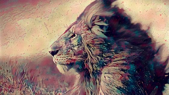 Lion portrait- Painting effect wallpaper