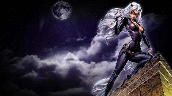 Catwoman in the full moon wallpaper