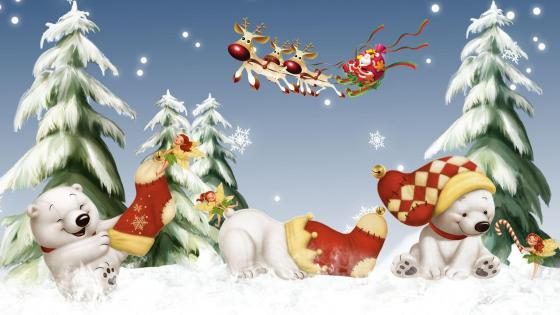 Santa Claus and Polar Bears wallpaper