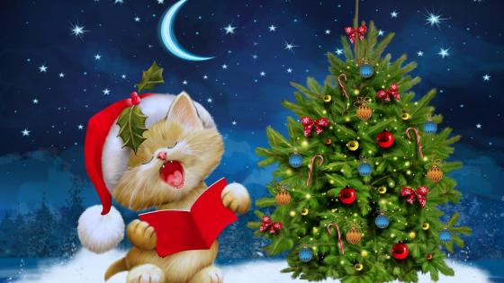 Singing Santa Claus Cat wallpaper