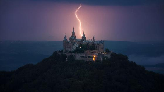 Hohenzollern Castle with lightning strike wallpaper