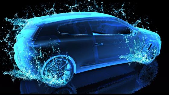 Blue neon light car - Digital art wallpaper