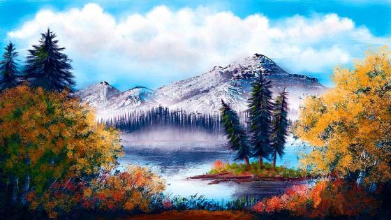 Autumn landscape - Painting art wallpaper