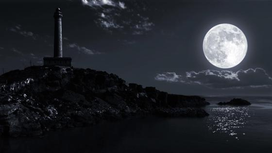 Lighthouse in the full moon wallpaper