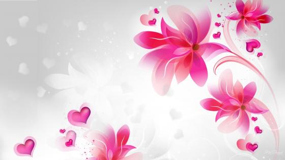 Pink abstract flowers wallpaper