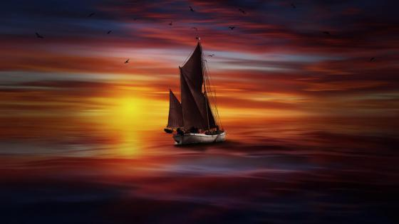 Sailboat in the sunset - Digital art wallpaper