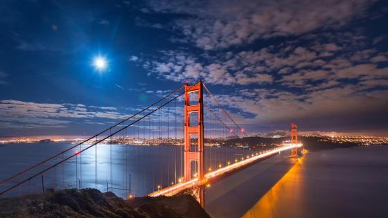 Golden Gate Bridge at night wallpaper