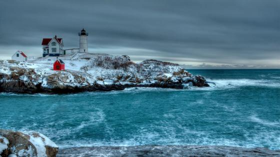Cape Neddick (Nubble) Lighthouse in winter wallpaper