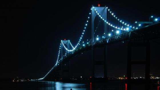 Claiborne Pell Newport Bridge at night wallpaper