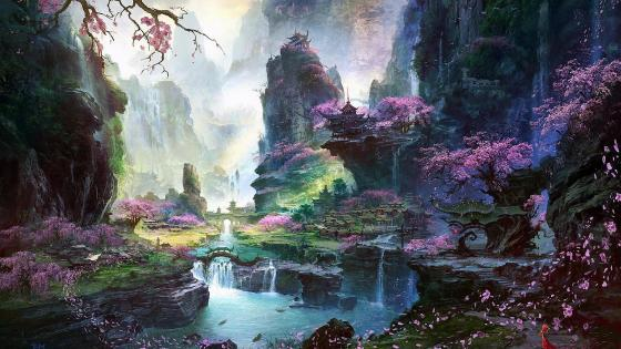 Beautiful valley fantasy art wallpaper