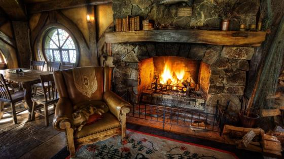 Inside the Green Dragon in Hobbiton wallpaper