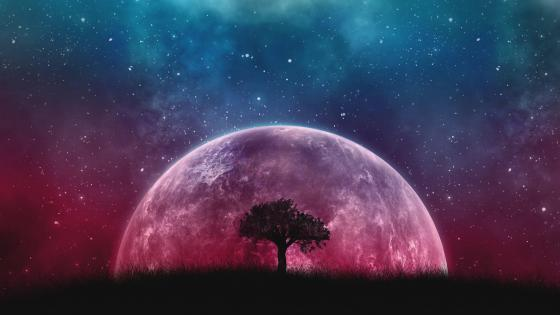 Fantasy supermoon wallpaper