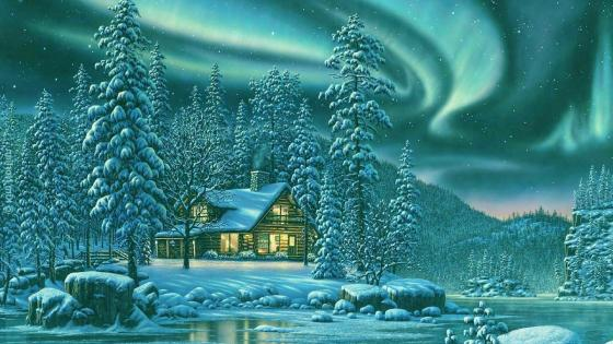 Winter chalet in Northern lights wallpaper