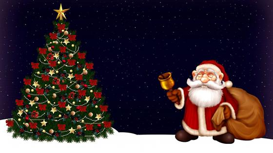 Christmas Tree & Santa Claus with gifts wallpaper