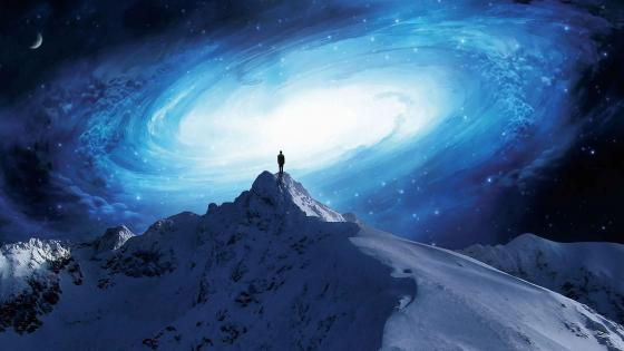 Blue galaxy swirl - Fantasy landscape wallpaper