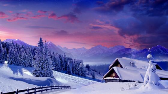 Snowy house mountain house wallpaper